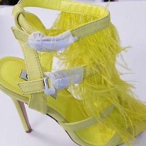 Neon Yellow Feather Heels